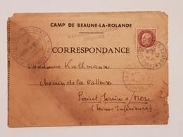 Lettre De Prisonnier De Guerre Camp De Beaune La Rolande Tampon Préfecture 1943 - 1939-45