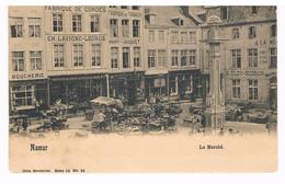 CPA Dos Non Divisé : NAMUR Le Marché - Place Du Marché Aux Légumes Fabrique De Cordes Et Fabrique De Tabacs - Namur