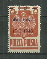 POLAND MNH ** 439a Aigle Surcharge WARSZAWA - Unused Stamps