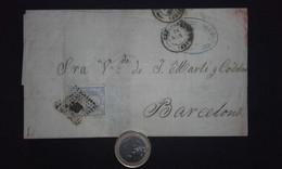 España 1871 Edifil 107 Gobierno Provisional - Envuelta Santander A Barcelona Fechador Nº43 - Spain - Espagne - Briefe U. Dokumente