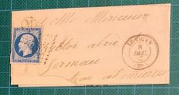 Gard -N° 14 + PC +T15 LE VIGAN = MANDAGOUS - Lettre Incomplète - - 1849-1876: Klassieke Periode