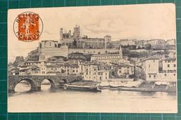 Herault - Simili Entier Postal Semeuse 5C Rouge Cad Beziers 1911 - CP Avec Trace D'humidité - 1877-1920: Semi-moderne Periode