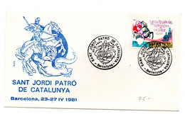 Carta Con Matasellos Commemorativo Sant Jordi Patro De Catalunya. 1981 - 1981-90 Cartas