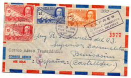 Carta De Costa Rica Direccion Castellon  Correo Trasatlantico 1952 - Costa Rica
