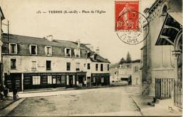 13299  Essonne  YERRES: Place De L'Eglise - Vins Café Biere Et Liqueurs    Circulée En 1908 - Yerres