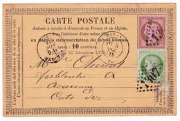 Carte Postale 1873 Dijon Côte D'Or Auxonne Chenut Ferblanterie Ferblantier Cérès 10 Centimes + Cérès 5 Centimes - 1871-1875 Ceres