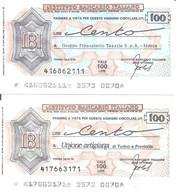 MINIASSEGNI - ISTITUTO BANCARIO ITALIANO Unione Artigiana Torino E Provincia - Gruppo Tessile Marus Torino  £.100x2 - [10] Cheques Y Mini-cheques