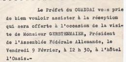 V12 65Sb   Tchad Invitation Du Préfet Du Ouaddaï à Réception Visite Gerstenmaier Président Assemblée Fédérale Allemagne - Chad