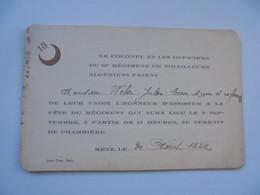 METZ  CARTON D INVITATION 18 Ieme Regiment De Tirailleurs Algeriens - Metz
