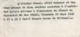 V12 65Sb   Tchad Invitation Adjoint Nomade Abbas Apperitif Départ Capitaine Choin Route De Biltine - Chad