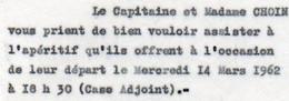V12 65Sb   Tchad Invitation Case Adjoint Aperitif Départ Capitaine Choin - Chad