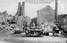 DC2431 - Ak Schlacht Bei Saarburg Riedling Zerschossene Häuser Soldaten - Guerra 1914-18