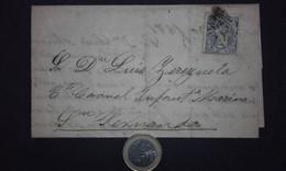 España 1871 Edifil 107 Gobierno Provisional - Envuelta Carta Sevilla A San Fernando (Cadiz) A Teniente Coronel De Marina - Briefe U. Dokumente