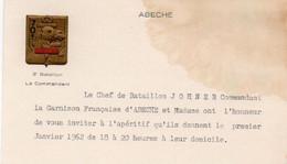 V12 65Sb   Tchad Abéche 3° Et 70° Bataillon Ecusson Gaufré Commandant Johner Invitation Jour De L'an 1962 - Chad