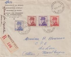 """MONACO : AFFRANCHISSEMENT A 5.10 . REC .  """"  MONACO  - VILLE   """" . 1941 . - Storia Postale"""