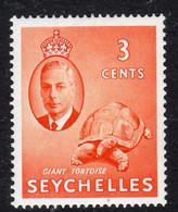 Seychelles GVI 1952 3c Giant Tortoise Definitive, MNH, SG 159 (B) - Seychellen (...-1976)