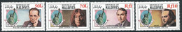 Maldives, 1986, Michel 1170-1173, The 100th Anniversary Of Statue Of Liberty (John Lennon), 4v, MNH - Muziek