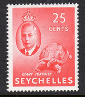 Seychelles GVI 1952 25c Giant Tortoise Definitive, MNH, SG 164 (B) - Seychellen (...-1976)