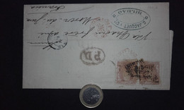 España 1871 Edifil 107(pareja) Gobierno Provisional - Envuelta Carta Bilbao A Morez Du Jura (Francia) - Spain - Espagne - Briefe U. Dokumente