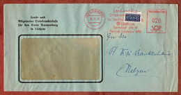 Brief, Absenderfreistempel, Vorausentwertete Notopfermarke, Land- Und AOK, 20 Pfg, Luechow 1948 (2595) - Cartas