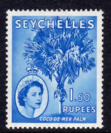 Seychelles QEII 1954 1 Rupee 50 Coco-de-Mer Palm Definitive, Hinged Mint, SG 185 (B) - Seychelles (...-1976)