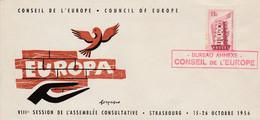 CONSEIL DE L'EUROPE STRASBOURG SESSION ASSEMBLEE CONSULTATIVE 1956 - Gedenkstempels