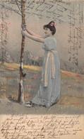 BEAUTIFUL YOUNG WOMAN-LONG BLUE DRESS-WHITE SASH AROUND WAIST~1903 SWISS TINTED PHOTO POSTCARD 50903 - Fashion