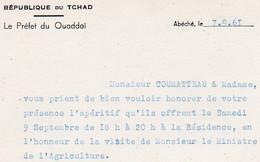 V12 65Sb   Tchad Abéche 1961 Préfet Du Ouaddaï Aperitif à La Résidence Visite Ministre De L'agriculture - Chad