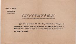 V12 65Sb   Tchad Abéche Gendarmerie Invitation Au Club Des Officiers En 1962 - Chad