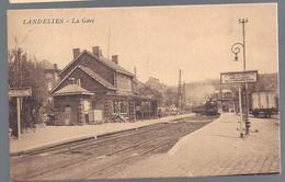 374-LANDELIES-station Gare Statie Bahnhof-locomotive Train Vapeur Stoomtrein-cachet Etoiles LANDELIES - Montigny-le-Tilleul
