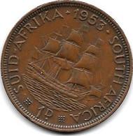 *south Africa  1 Penny 1953 Km  46  Vf - Zuid-Afrika