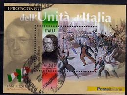 ITALIA REPUBBLICA ITALY REPUBLIC 2011 I PROTAGONISTA DELL'UNITÀ VINCENZO GIOBERTI BLOCCO FOGLIETTO BLOCK USATO USED - Blocks & Kleinbögen