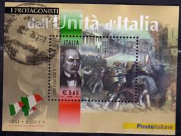 ITALIA REPUBBLICA ITALY REPUBLIC 2011 I PROTAGONISTA DELL'UNITÀ CARLO CATTANEO BLOCCO FOGLIETTO BLOCK USATO USED - Blocks & Kleinbögen