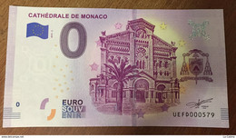 2019 BILLET 0 EURO SOUVENIR CATHÉDRALE DE MONACO ZERO 0 EURO SCHEIN BANKNOTE PAPER MONEY - Monaco
