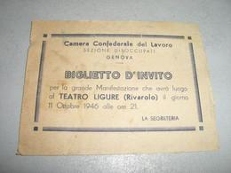 BIGLIETTO D'INVITO CAMERA CONFEDERALE DEL LAVORO GENOVA - Tickets - Vouchers