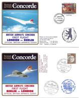 CONCORDE British Airways G-BOAF. Premier Vol LONDRES-BERLIN-LONDRES  29-30 Juin 1985  (2 Plis) - Concorde