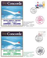 CONCORDE British Airways G-BOAF. Premier Vol LONDRES-BILLUND-LONDRES  5 Juillet 1985  (2 Plis) - Concorde