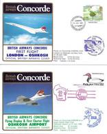 CONCORDE British Airways G-BOAG. Premier Vol LONDRES-OSHKOSH-LONDRES  26-27 Juillet 1985  (2 Plis) - Concorde