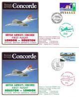 CONCORDE British Airways G-BOAF. Premier Vol LONDRES-HOUSTON-LONDRES  21-22 Août 1985  (2 Plis) - Concorde