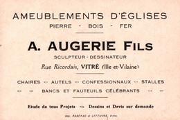 Carte Commerciale - VITRE - Ets A.AUGERIE Fils - Ameublements D'églises ... - Visiting Cards