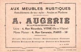 Carte Commerciale - VITRE - Ets A.AUGERIE Fils - Fabricant De Meubles Rustiques ... - Visiting Cards