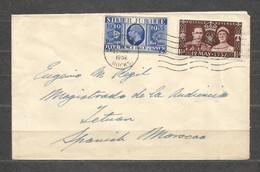 BRITISH POST OFFICE TETUAN  - INTERESTING  Cover Traveled To SPANISH MOROCCO 1952 Year - F 413 - Spanish Morocco