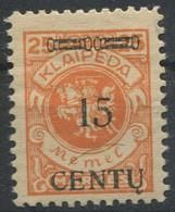 1152) Memel MiNr.: 170 A II Geprüft Erstfalz - Coordination Sectors