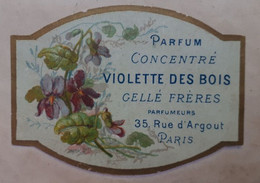 Parfum Concentré - Violette Des Bois - Gellé Frères - Rue D'Argout, Paris - Etiketten