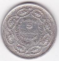 Protectorat Français 5 Francs 1939 (AH1358) Ahmad Pasha Bey , En Argent - Tunisia