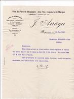 64-J.Arraya ..Vins De Pays, D'Espagne, Vins Fins....Bayonne.....(Pyrénées-Atlantiques)..1927 - Artigianato