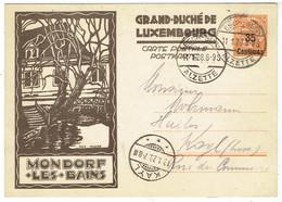 Entier 40 Ct Vers 35 Ct - Mondorf Les Bains - Grand Duché De Luxembourg - 1928 - Cartas