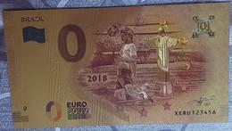 Billete 0 € Euro Souvenir Fantasía Dorado MUNDIAL FUTBOL RUSIA 2018: BRASIL - Non Classificati