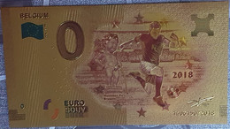 Billete 0 € Euro Souvenir Fantasía Dorado MUNDIAL FUTBOL RUSIA 2018: Bélgica - Non Classificati