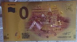 Billete 0 € Euro Souvenir Fantasía Dorado MUNDIAL FUTBOL RUSIA 2018: Rusia - Non Classificati